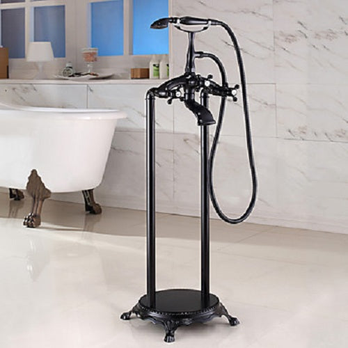 Bathtub Faucet - Antique Oil-rubbed Bronze Floor Mounted Ceramic Valve Bath Shower Mixer Taps / Two Handles Two Holes