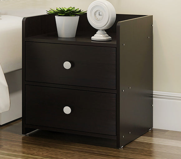 Varossa Classic Bedside Table / Chest of Drawers (Black Wood)