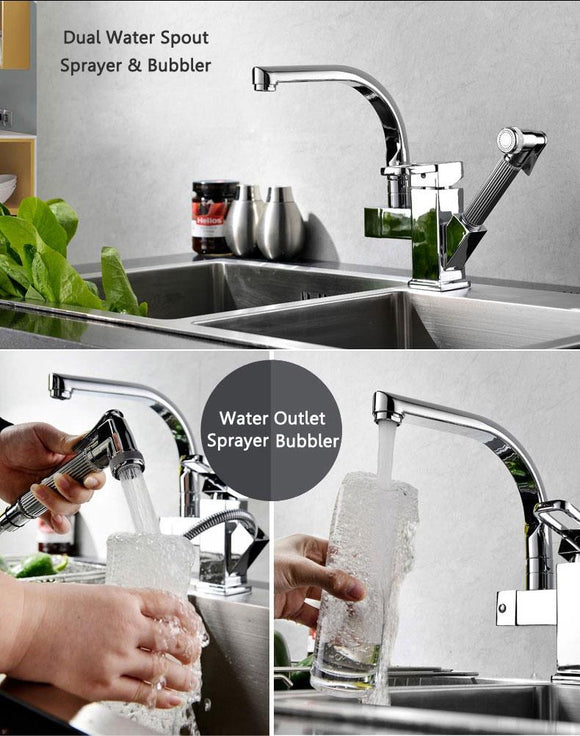 SKU:- ZAL0023 KITCHEN SINK MIXER FAUCET PULL OUT SPRAYER TAP BATHROOM DOUBLE SPOUTS 360 DEGREE FAUCETS
