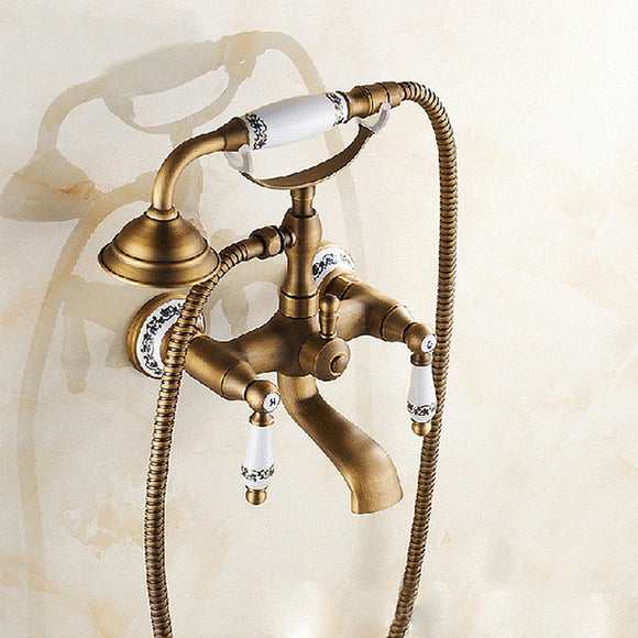 ZAL0004 - ANTIQUE BRASS WALL MOUNTED BATHROOM TUB FAUCET DUAL CERAMICS HANDLES TELEPHONE STYLE HAND SHOWER, SPECIFICATION: TELEPHONE SHOWER + FIXED SEAT