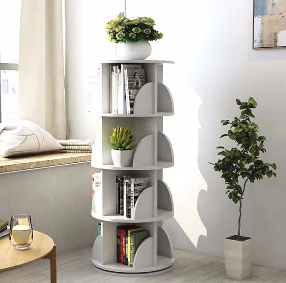 Sanctuary 360-degree Rotating 4 Tier Display Shelf Bookcase Organizer (White)