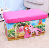 Large Toy Box Foldable Storage Stool (Pink Princess)