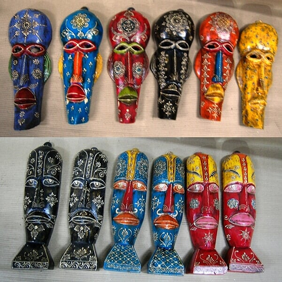 Wooden Hand design painted Face Mask  34 cm