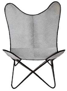 Trendy Butterfly Geniune Hide Chair with solid all welded metal frame