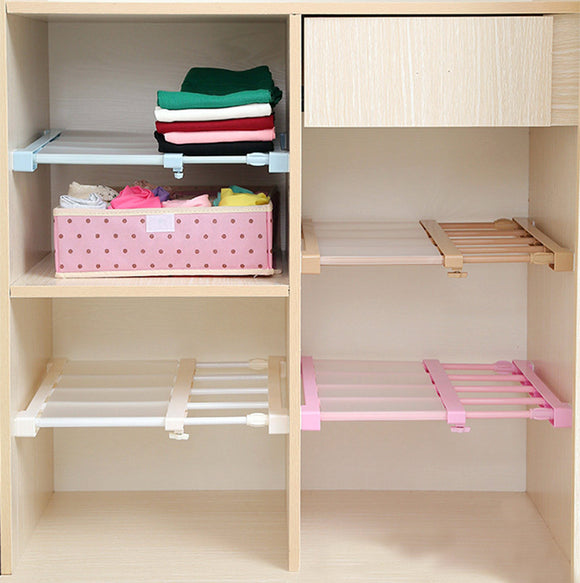 Extendable Clothes Shelf Closet Bathroom Kitchen Organizer 75-120cm
