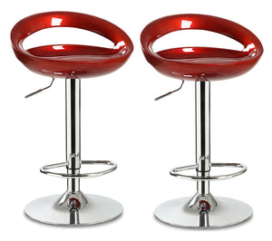 2 x Envy High Gloss Designer Bar Stools (Glossy Burgundy -Set of 2)