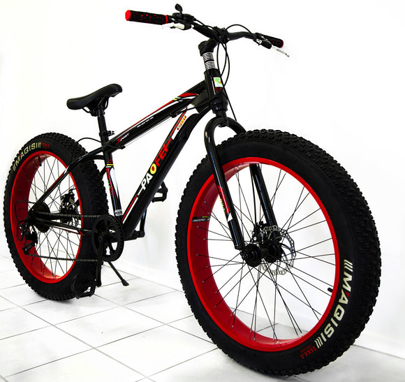 Large Tire Heavy Duty Fat Wheel Mountain Bike (Premium Red & Black Bicycle)