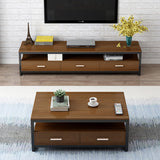 2-Piece Set Athena Coffee Table & TV Cabinet with Drawers (Walnut)