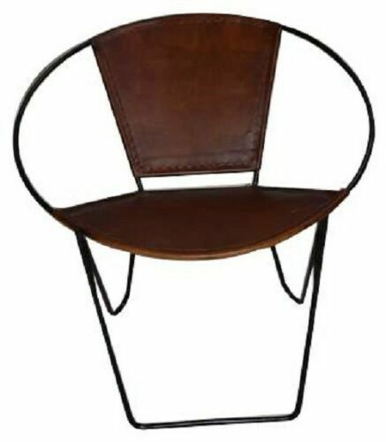 Tub Chair Genuine Hide Leather Single Metal Frames Handcrafted