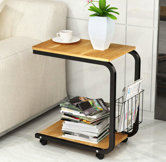 Sofa Bed Side Table Laptop Desk with Magazine Rack and Wheels (Oak)