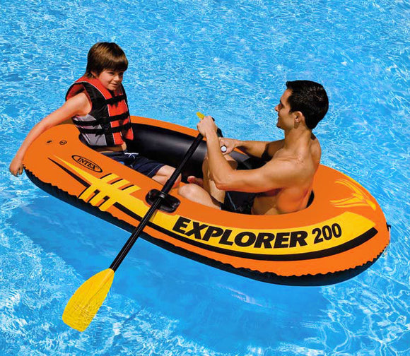 Intex Explorer 200 Set Two Person Inflatable Boat with Oars and Pump