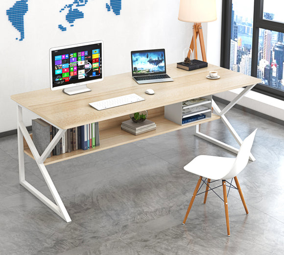Kori Large Wood & Metal Computer Desk with Shelf (White)- SOLD