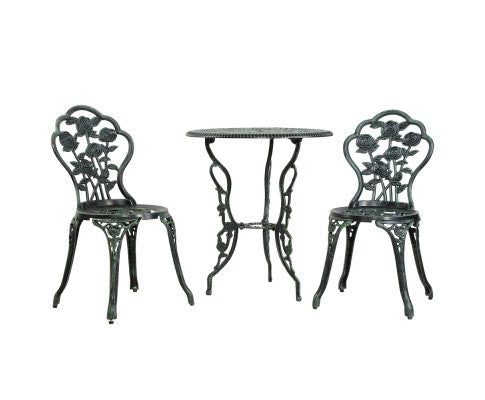 Outdoor Furniture Chairs Table 3pc Aluminium Bistro Bronze