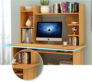 Expert Computer Desk Workstation with Shelf & Cabinet (Oak)