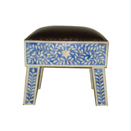 LEATHER WITH BONE INLAY STOOL