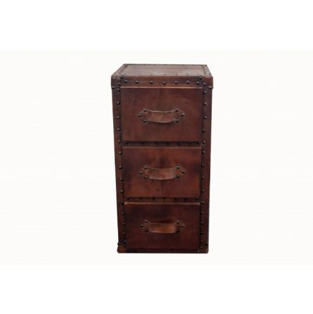 BEDSIDE DRAWER GENUINE  LEATHER 3 DOOR