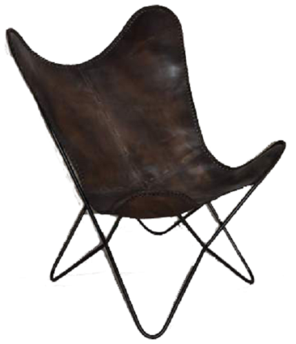Boston Genuine Leather Butterfly Chair  Single Metal frame