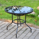 Alfresco 80cm Round Mirrored Tempered Glass Table