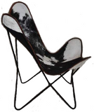 Handcrafted Vintage Retro Style Metal Frame Cowhide Leather Butterfly Chair New