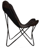 Boston Genuine Leather Butterfly Chair  Single Metal Frame Fully Welded .