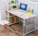Exceeder Large Workstation Wood & Steel Computer Desk with Storage Shelves (White Oak)