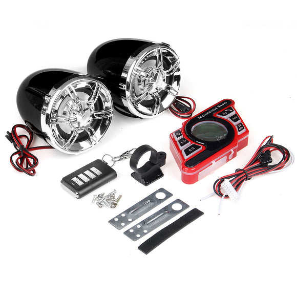 BLACK MOTORCYCLE HANDLEBAR BLUETOOTH 5.0 AUDIO SYSTEM FM RADIO STEREO AMPLIFIER SPEAKER