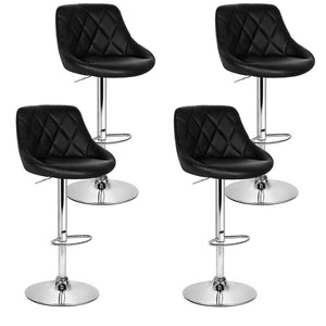 Artiss Set of 4 Bar Stools PU Leather Diamond Style - Black