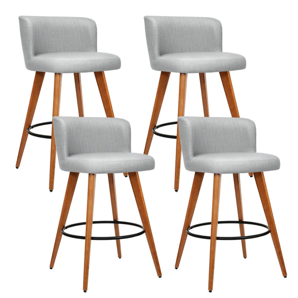 Artiss set of 4 Wooden Bar Stools Modern Bar Stool Kitchen Dining Chairs Cafe Grey