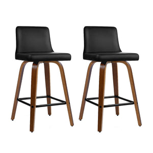 Artiss Set of 2 Kitchen Wooden Bar Stools Swivel Bar Stool Chairs PU Leather Luxury Black