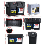 GIANTZ 75Ah Deep Cycle Battery & Battery Box 12V AGM Marine Sealed Power Solar