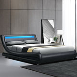 Artiss LED Bed Frame King Size Mattress Base Platform Black Leather Wooden ALEX