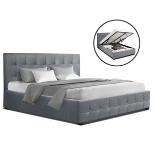Artiss ROCA Double Full Size Gas Lift Bed Frame Base With Storage Mattress Grey Fabric