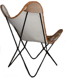 Genuine Hide Butterfly Chair With Solid Welded Metal Frame