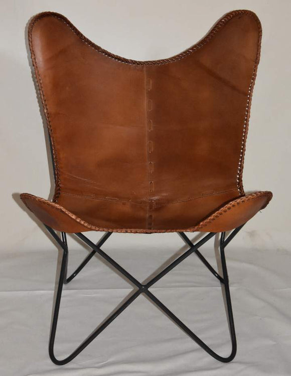 Butterfly chair genuine leather single metal Frame Handcrafted Brown