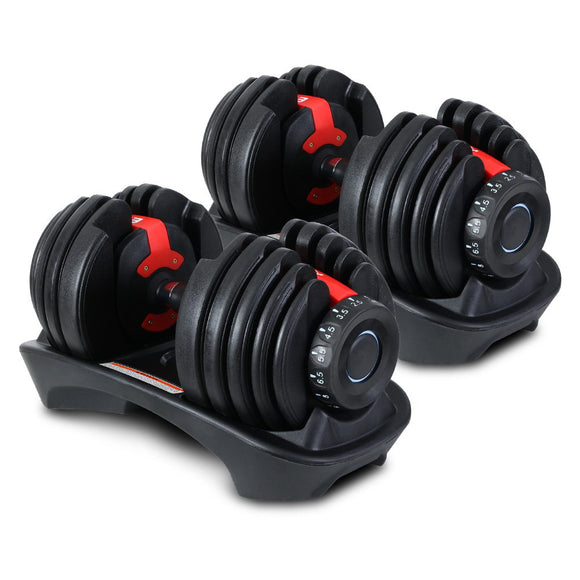 Everfit 2 x 24KG Adjustable Dumbbells Set Dumbbell Weight Plates Home Gym Exercise