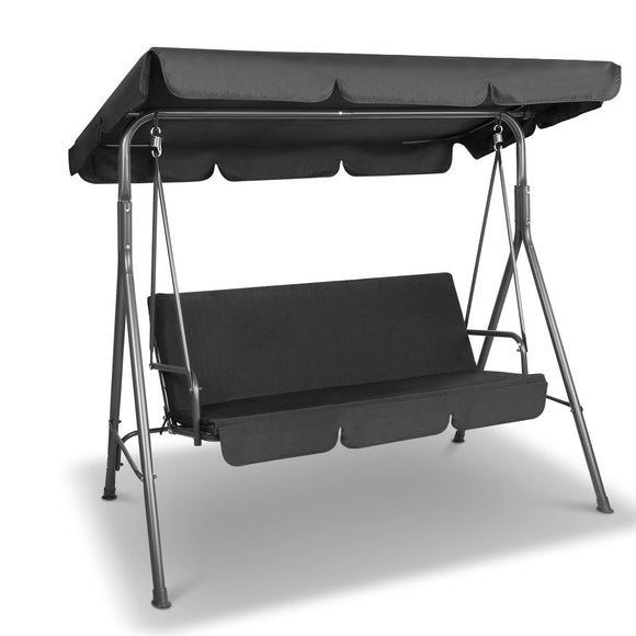 Gardeon Outdoor Furniture Swing Chair Hammock 3 Seater Bench Seat Canopy Black