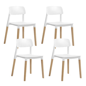 Artiss Set of 4 Belloch Replica Dining Chairs Kichen Cafe Stackle Beech Wood Legs White