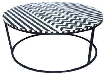 Round Bone Inlay Coffee Table - Z0021