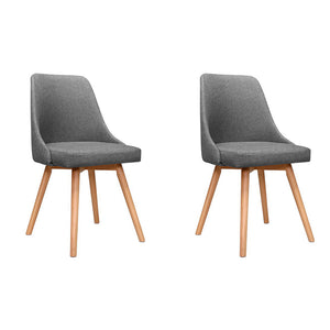 Artiss Set of 2 Replica Dining Chairs Beech Wooden Timber Chair Kitchen Fabric Grey