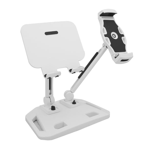Universal and Adjustable Double Arm Stand Holder White