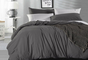 Super King Size Charcoal Vintage Washed Cotton Quilt Cover Set(3PCS)