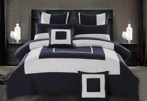 King Size 3pcs Navy Blue Border Striped Quilt Cover Set(3PCS)