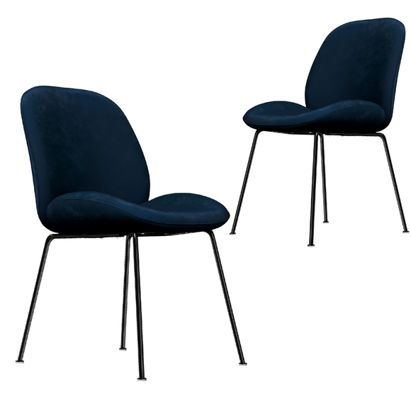 Avery Classic Blue Velvet Dining Chair Set of 2