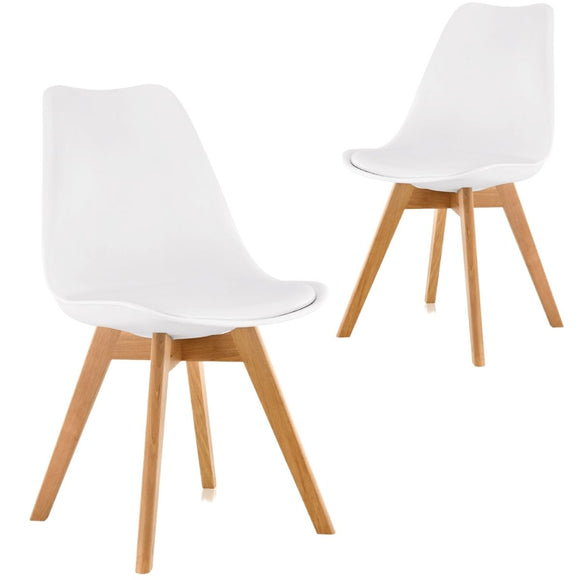 Cherry White Iconic Mid-Century Design Dining Chair Set of 2