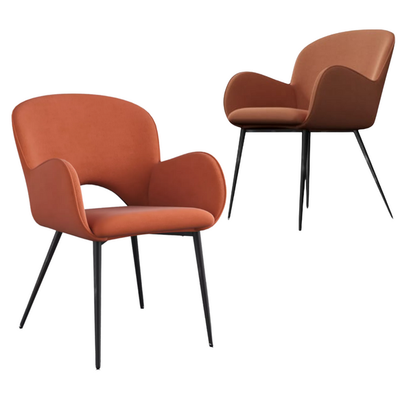 Jessi Orange Velvet Dining Chair with Arm Rest Set of 2