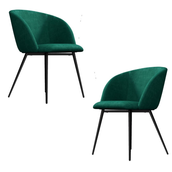 Mid-Century Teal Velvet Dining Chair Set of 2
