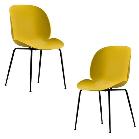 Meryll Yellow Curvy Beetle Dining Chair Set of 2