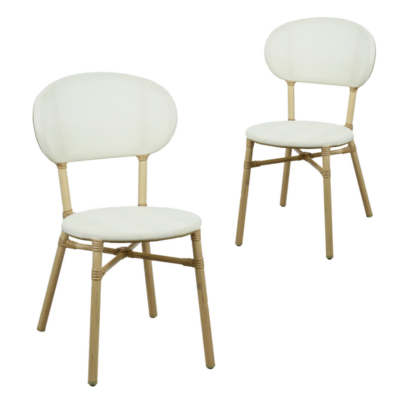 Skyler Style-savvy Outdoor Dining Chair Set of Two White