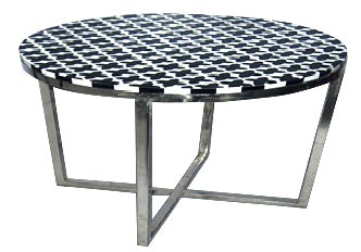 Bone Inlay Round Sliver Side Table - Thin Zigzag - Z0022