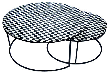 Bone Inlay Round Nest of 2 table - Z0025